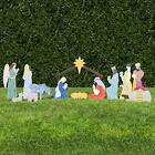 Outdoor Nativity Set Figures Collapsible Stable  Stakes Fade Resistant Plastic