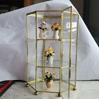 Franklin Mint Flowers Of The Year Porcelain Miniature Flowers with Glass Etagere