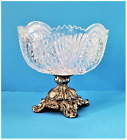 Large Lead Crystal Glass Cut Bowl on Metal Stand Hollywood Regency Style