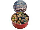 Vtg Corticelli Belding Cotton Thread Wood Spools Currier Ives C Park Winter Tin