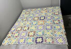 Vintage Floral Afghan Crochet Knitted Blanket Quilt Handmade Square Throw 39x38