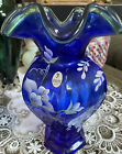 1998 Fenton 75th Anniversary Cobalt Vase Hand painted  Signed Excellent