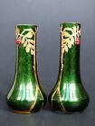 Josef Riedel 2 small gilded green glass vases aventurine red berries Art Nouveau