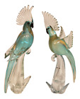 Large Mid 20th Century Italian Murano Turquoise and Gold Glass Cockatoo Parrots