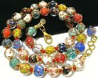 Rainbow Venetian Murano Glass Gold Foil Bead Vintage Style 18 Long NECKLACE