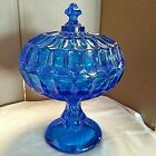 FENTON THUMBPRINT COLONIAL BLUE PEDESTAL COVERED CANDY DISH 10 T