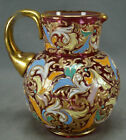 Moser Harrach Hand Enamelled Floral Scrollwork Cranberry Glass  Gold Pitcher