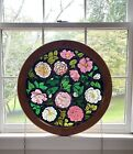 Rose Flower Transfer Stained Glass Round Framed Window