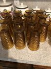 Vintage Lot of 15 Amber Indiana Glass Whitehall Cubist Pedestal Drinking Glasses