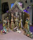 North Pole Trading Co 13 pc Nativity JCP Hand Painted Ceramic  Wood Background