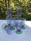 Rare 8 carder Steuben Wisteria green footed drinking glasses