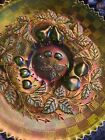 Vintage Northwood Green Iridescent Carnival Glass 3 Fruit Sawtooth 9in Plate