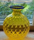 Vintage Signed Venini 1996 Yellow Glass With Blue Rim Murano