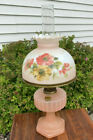 Antique Original Aladdin Pink Glass Floral NU Type Model B Oil Lamp With Shade
