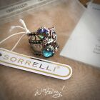 SORRELLI Stacked Crystal Band Ring Antique Silver tone NORTHERN LIGHTS Pre Owned