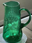 Blenko Emerald Green Pitcher Hand Blown Dimple Crackle Glass 1953 to 1955