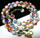 Pink Millefiori Venetian Murano Glass Bead 18 Long Vintage Style NECKLACE New