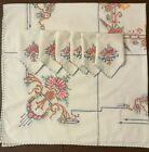 Vintage Hand Embroidered Retro Rose Square White Tablecloth Six Napkins 46 x 48