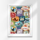 A3 White Framed Prints Amazing Passport Stamps Travel 42X297cm 8610