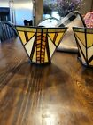 TWO ART DECO PARTY LITE WALL SCONCE FIXTURE CANDLE HOLDER STAINED GLASS