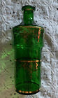 Vintage Venetian Emerald Green Glass Decanter With Gold Decoration Italian Italy
