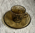 Vintage Bohemian Glass Moser Style Demitasse Espresso Cup Set Amber Gold Scroll