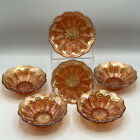Fenton Marigold Carnival Glass Peacock Tail Berry Bowls Set Of 6 b