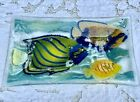 Fine studio fused art glass tray with fish signed