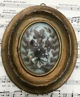 Antique French Mourning Hair Art Domed Glass Oval Wooden Frame Pansy Cross c1880