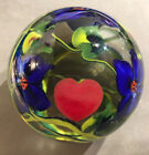 Vintage RICHARD OLMA Art Glass Heart Flowers Paperweight Signed Dated 1985