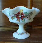 Fenton Satin Custard Glass Hand Painted Poinsettias Ruffled Compote Candy Dish