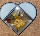 White Heart Shaped Stained Glass Beveled Glass Sun Catcher Pressed Flowers 4