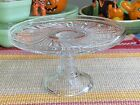 Antique Ornate Swirled Star Pattern Glass Small Cake Pastry Stand Server