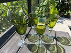 Vintage 5 Artland Bubble Glass Green Seeded Wine Water Goblet Glass