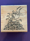 Fluffles the Cat Leap Cat Jmping in Leaves Thanksgiving Rubber Stamp
