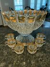 Vintage Glass Punch Bowl Set with Gold Accents