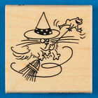 Fluffles the Cat Broomstick Rubber Stamp by Stampendous Halloween Witch  Frog
