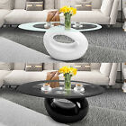 High Gloss Black White Coffee Table Oval Glass Top  Hollow End Side Living Room