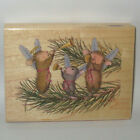 Stampabilities House Mouse Rubber Stamp REJOICE 02 Color Wood Mounted Christmas