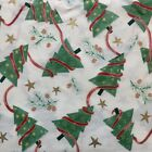 New 4 yd 2 Holiday Christmas Tree Star Pinecone Ribbon Cotton Quilt Sew Fabric