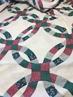 Vintage COTTON QUILT Fabric COUNTRY QUILT Ring Design 90 X 122