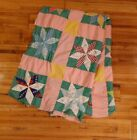 Vintage Hand Pieced Eight Point Star Quilt Top 66x80 Unfinished For Restoration