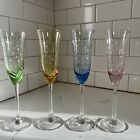4 Champagne Glasses Blue Green Pink Yellow Etched Poka Dotz Glasses Colored Lot