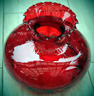 Vintage 10 Ruby Glass Red Dot Optic Glass Lamp Shade Crimp Top 12x9 Heavy