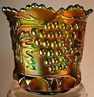 Northwood CARNIVAL GREEN Glass SPOONER GRAPE  CABLE Thumbprint Vintage