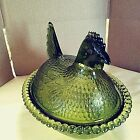 Indiana Glass Co Hen on a Nest Olive Avocado Green Chicken Candy Nut Dish 55