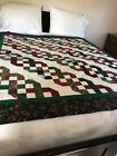 Terrific Christmas Candy Canes Design Quilt Top All Cotton w Binding 59x67