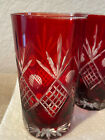 Vintage 4 Ruby Red Cut to Clear Bohemian Czech Crystal Glass Tumbler
