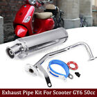 Chrome Stainless Steel Exhaust Muffler Pipe Gasket Kit For GY6 50CC Scooter US
