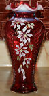 Fenton Art Glass Cranberry Feather Vase Randy Fenton Hand Painted by C Riggs